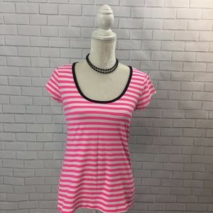 Hot Pink and White Striped T-shirt NY&Co